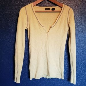 Yellow button front long sleeve
